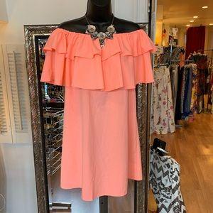 Not Branded neon orange off should ruffle dress